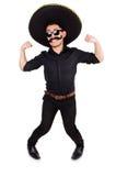 Hombre divertido que lleva el sombrero mexicano del sombrero aislado Foto de archivo