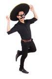 Hombre divertido que lleva el sombrero mexicano del sombrero aislado Fotos de archivo