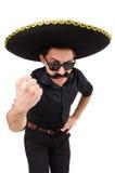 Hombre divertido que lleva el sombrero mexicano del sombrero aislado Imágenes de archivo libres de regalías