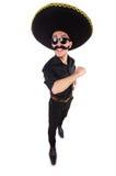 Hombre divertido que lleva el sombrero mexicano del sombrero aislado Fotografía de archivo libre de regalías