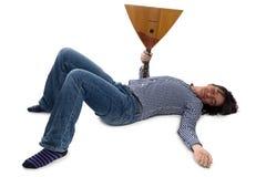 Hombre durmiente con la balalaica Imágenes de archivo libres de regalías