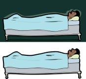 Hombre durmiente en cama Imagenes de archivo