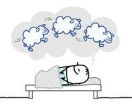 Hombre durmiente y sueño agradable libre illustration
