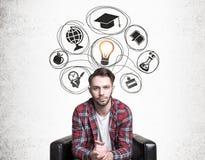 Hombre educado con ideas Fotos de archivo libres de regalías