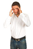 Hombre ejecutivo con el dolor principal Foto de archivo libre de regalías