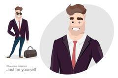 Hombre elegante en traje de negocios con un bolso Fotografía de archivo libre de regalías