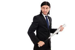 Hombre elegante joven en el traje negro aislado en blanco Imagen de archivo libre de regalías