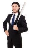 Hombre elegante joven en el traje negro aislado en blanco Fotos de archivo libres de regalías