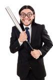 Hombre elegante joven en el traje negro que sostiene el palo Fotografía de archivo libre de regalías