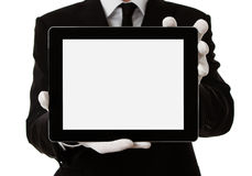 Hombre elegante que sostiene la tablilla digital en blanco imágenes de archivo libres de regalías
