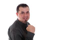 Hombre emocionado en camisa y lazo Foto de archivo libre de regalías