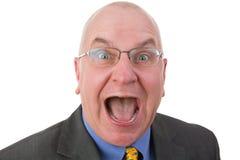 Hombre emocionado que reacciona en el asombro Fotografía de archivo