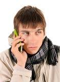 Hombre emocional del teléfono celular Imagen de archivo