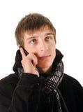 Hombre emocional del teléfono celular Fotografía de archivo libre de regalías