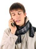 Hombre emocional del teléfono celular Fotos de archivo
