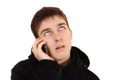 Hombre emocional del teléfono celular Foto de archivo libre de regalías