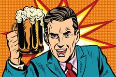 Hombre emocional del vintage con la cerveza stock de ilustración