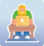 Hombre empanado que usa el ordenador portátil Imagen de archivo libre de regalías
