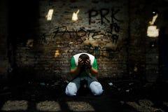 Hombre en agonía Fotografía de archivo libre de regalías