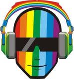 Hombre en auriculares en colores del arco iris fotos de archivo