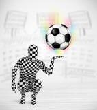 Hombre en balón de fútbol lleno del holdig del traje del cuerpo Imagenes de archivo