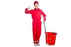 Hombre en batas rojas Fotografía de archivo