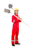 Hombre en batas rojas Imagenes de archivo