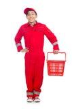Hombre en batas rojas Imagen de archivo libre de regalías