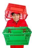 Hombre en batas rojas Fotografía de archivo libre de regalías