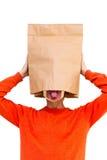 Hombre en bolsa de papel en la cabeza Fotos de archivo libres de regalías