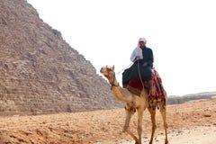 Hombre en camello en las pirámides Imagen de archivo