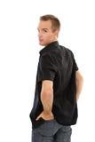 Hombre en camisa negra Fotos de archivo libres de regalías