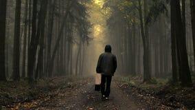 Hombre en capa con la maleta vieja en un bosque de niebla del otoño metrajes