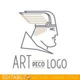 Hombre en casco con alas Cabeza de dios del Griego o de Viking Plantilla del logotipo Gráfico de vector Editable en estilo linear ilustración del vector