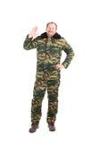 Hombre en chaleco de los militares Fotos de archivo