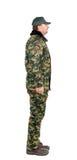 Hombre en chaleco de los militares. Vista lateral. Fotos de archivo