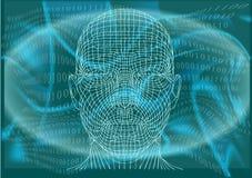 Hombre en ciberespacio ilustración del vector