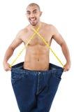 Hombre en concepto de dieta Imágenes de archivo libres de regalías
