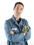 Hombre en delantal azul Imágenes de archivo libres de regalías