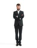 Hombre en desgaste formal con las manos dobladas Fotografía de archivo