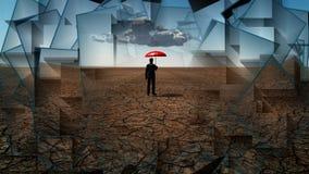 Hombre en desierto con el paraguas ilustración del vector