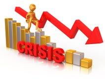 Hombre en diagrama. Crisis Fotos de archivo