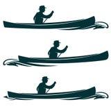 Hombre en diseño del vector de la vista lateral del barco de la canoa Fotos de archivo