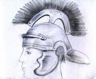 Hombre en el casco romano Foto de archivo