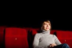 Hombre en el cine Fotografía de archivo libre de regalías