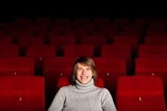 Hombre en el cine Imagen de archivo libre de regalías