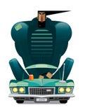 Hombre en el coche retro ilustración del vector