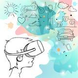 Hombre en el dispositivo para la realidad virtual Imagen de archivo libre de regalías