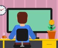 Hombre en el lugar de trabajo con el monitor grande stock de ilustración