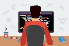 Hombre en el lugar de trabajo con la codificación del ordenador ilustración del vector